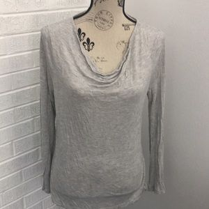 J. Crew Gray Long Sleeve Tee with Cowl Neck size M